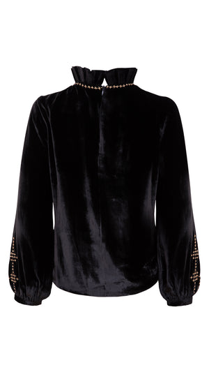 Cross-stitch silk velvet top