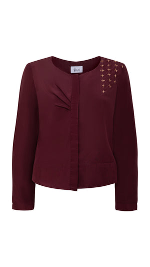 Embroidered silk cardigan top