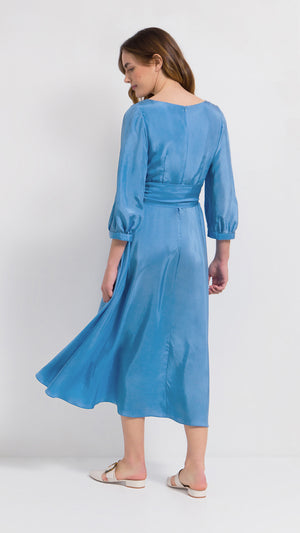 Crossover puff sleeve silk midi dress