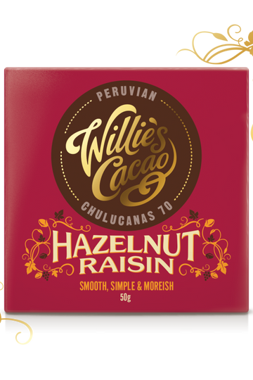 Willie's Cacao Hazelnut Raisin (50g bar)