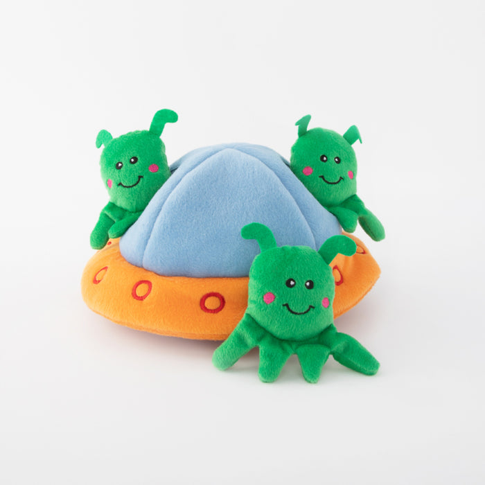 ZippyPaws Zippy Burrow - Aliens in UFO Dog Toy