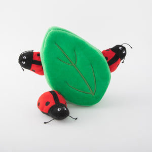 ZippyPaws Burrow - Ladybugs in Leaf Dog Toy