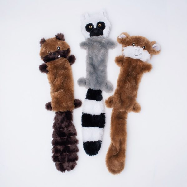 ZippyPaws Skinny Peltz Chipmunk, Lemur and Monkey Dog Toys