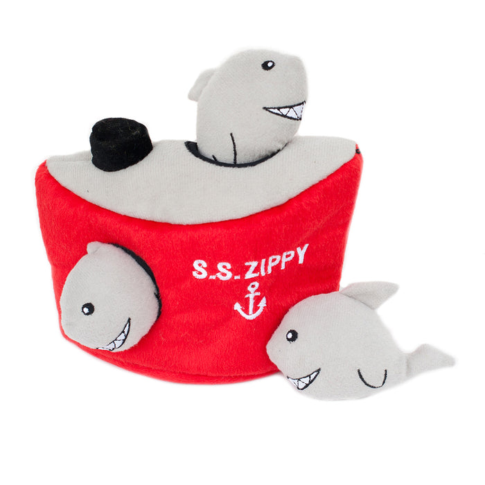ZippyPaws Burrow - Shark 'n Ship Dog Toy