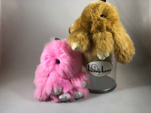 BunnyKans(TM) Bunny Keychain in Pull - Tab Can Fluffy Rabbit Fur Anxiety Stress Relief Cute Companion Pet