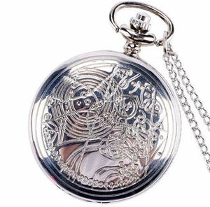 Dr. Who Silver Pocket Watch Timepiece