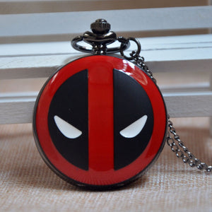 "Deadpool Marvel Pocket Watch Clock necklace Battery operates 36"" long chain double 4 pocket"