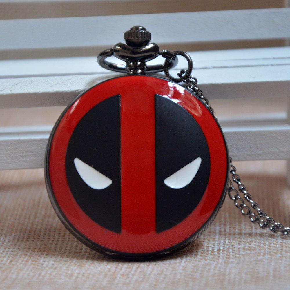 Deadpool Marvel Pocket Watch Clock necklace Battery operates 36