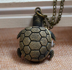 Turtle Pocket Watch Clock Necklace