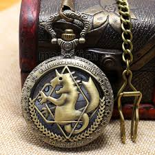 Full Metal Alchemist Shiny Silver/Brass Pocket Watch Anime Comic Con Geek collectible necklace