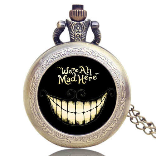 Alice in Wonderland Cheshire Cat We Are All Mad Here Pocket Watch Breezy Styles
