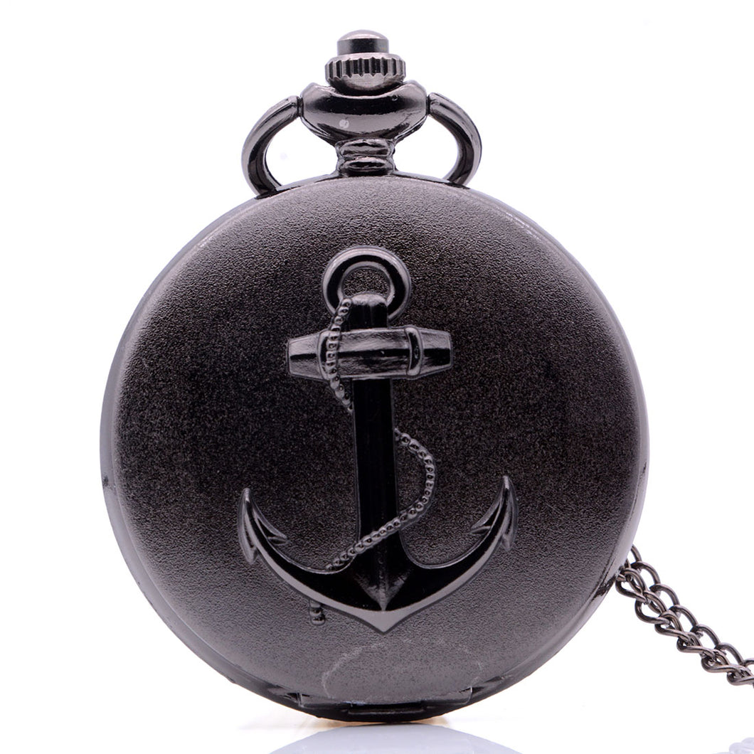 Black Pirate Ship Anchor Pocket Watch Clock Necklace 36
