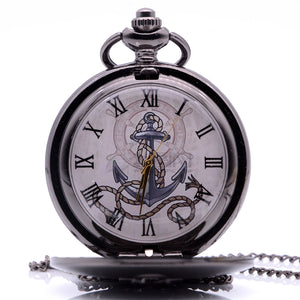 "Black Pirate Ship Anchor Pocket Watch Clock Necklace 36"" Chain Double 4 pocket SALE LOT"