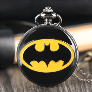 "Batman bat man Pocket watch Clock necklace Battery operates 36"" long chain double for pocket"
