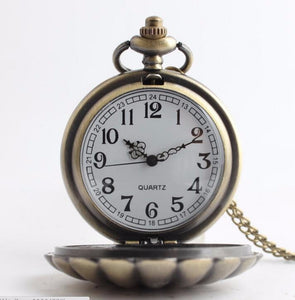 Brass Shell Pocket Watch ladies necklace mermaid gift mom clock time piece timeless