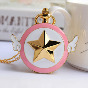 "Card Captor Sakura Cardcaptor Anime Pocket Watch Clock necklace Battery operates 36"" long chain double for pocket"