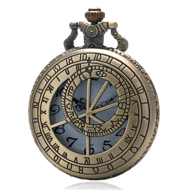 Open Face Classic Compass Astronomy Zodiac Pocket Watch Clock necklace Battery 36