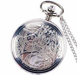 "Dr Who Silver Pocket Watch Clock necklace Battery operates 36"" long chain double 4 pocket"
