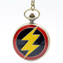 "FLASH DC Comics Character Pocket Watch Clock necklace Battery operates 36"" long chain double 4 pocket"