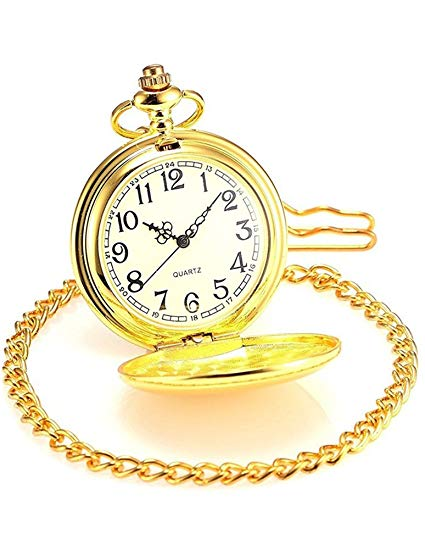 Gold Pocket Watch Golden plain Solid smooth bright gold front and back  clock time gift