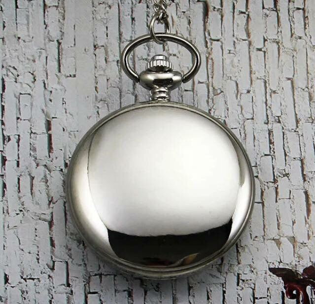 Silver Solid Shiny NEW Pocket Watch Clock numerals number Classic groomsman gift