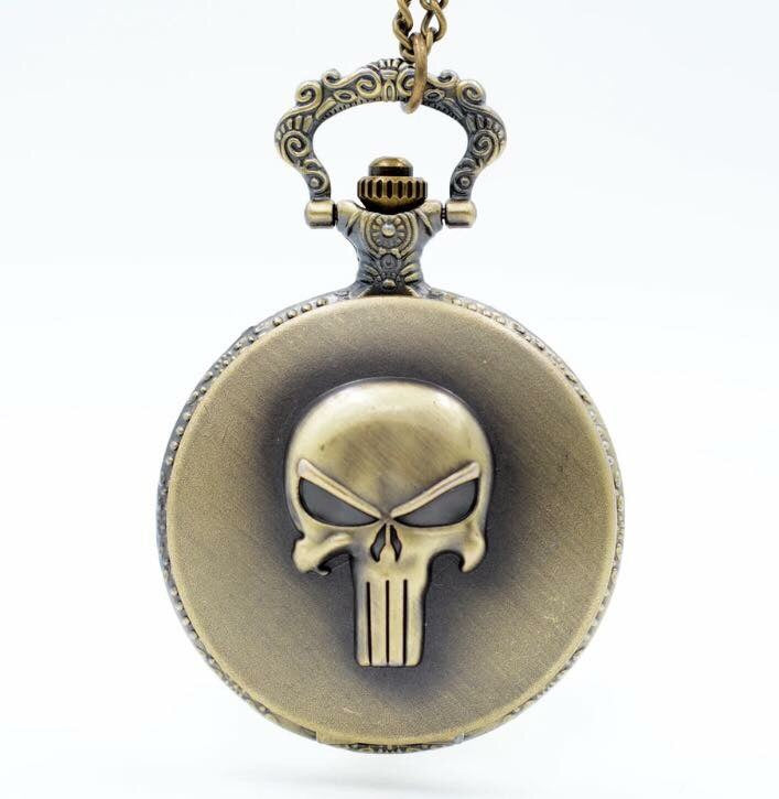 Punisher Pocket Watch clock necklace comic book legend anime brass collectible test of time gift
