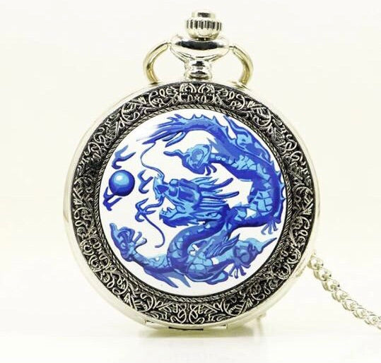 Blue Dragon Pocket Watch clock necklace chinese zodiac pretty cool silvertone gift mens