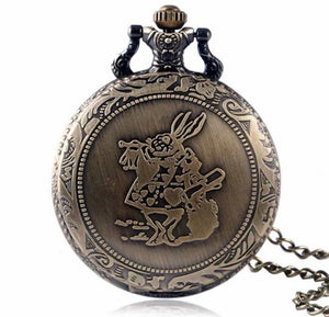 Alice White Rabbit Pocket Watch Wonderland Anime Show Large (necklace) Disney Gift of time