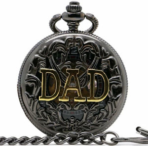 Dad Pocket Watch Black Ornate Father