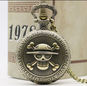 One Piece Luffy Pocket Watch straw hat pirate clock anime necklace