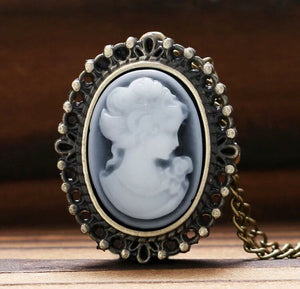 many styles Cameo Ladies Necklace with Clock inside Pocket Watch jewelry gift mom grandma vintage look