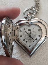 Heart Silver Pocket Watch Locket Clock Necklace Ladies Love Moms Gift Birthday Time