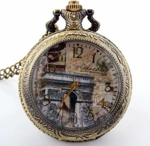 Glass Paris France Arch de Triumph Clock NecklacePocket Watch