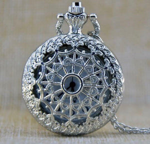 Silver Web Medium clock necklace Pocket Watch quartz time