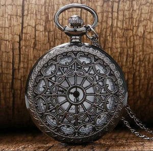 Black Web Steam Punk Pocket Watch clock necklace time piece classic wild west