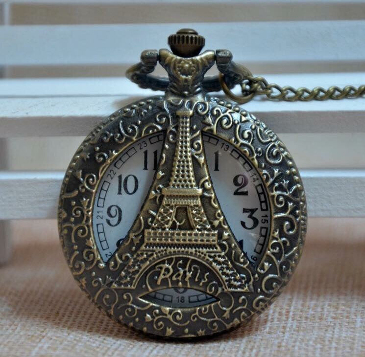 Paris France Eiffel Tower Clock Necklace See thru Brass Pocket Watch