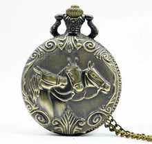 Horse Pocket Watch clock necklace ladies mens gentleman's battery operated equine equestrian pony