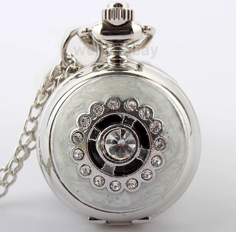 Ladies Medium Silver White Pearl Crystal Clock Necklace Gift Mom Birthday Pocket Watch