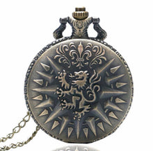 CLEARANCE Lannister Lion Game Thrones Pocket Watch clock necklace scottish winter is coming house Lan tv series throne