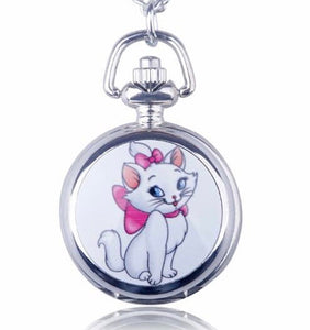 Marie Aristocats Disney clock necklace timeless Pocket Watch