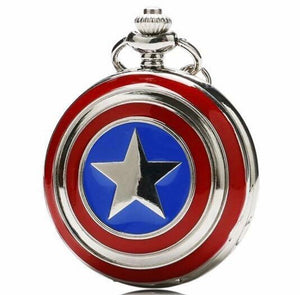 Captain America Pocket Watch Avenger Collectible Timeless Clock or necklace gift fathers mothers mom dad