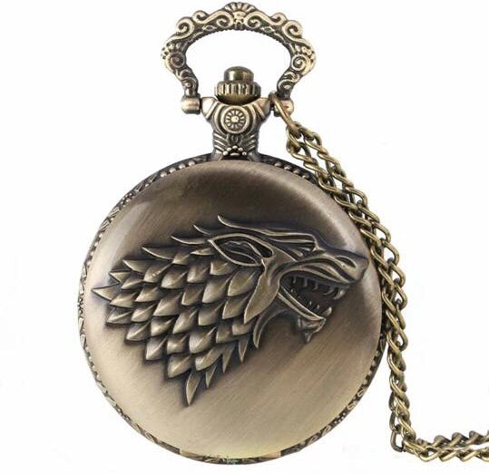 Stark Wolf Game of Thrones Pocket Watch quartz time clock necklace brass gift winter is coming mens man treasure vintage look