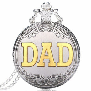 Dad Pocket Watch SILVER Ornate Father Scroll of Ivy open faced Black Gold DAD