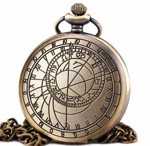 Compass Pocket Watch astronomy astrological Large (necklace) gift of time classic brass