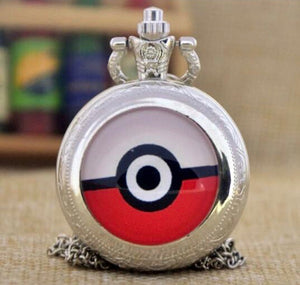 Silver Pokémon Pokeball Medium Pocket Watch