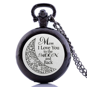 "I Love you To the moon and back Mom kid Dad child  Pocket Watch Clock necklace Battery 36"" chain Lot of 1"