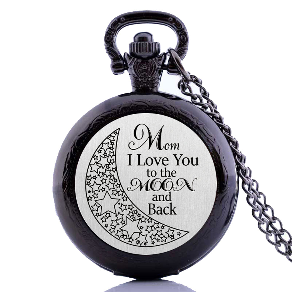 I Love you To the moon and back Mom kid Dad child  Pocket Watch Clock necklace Battery 36