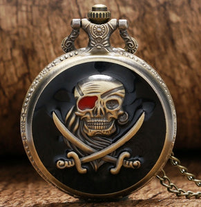 "Pirate red eye Caribbean Pocket Watch Clock necklace Battery 36"" chain Mens gift man geek"