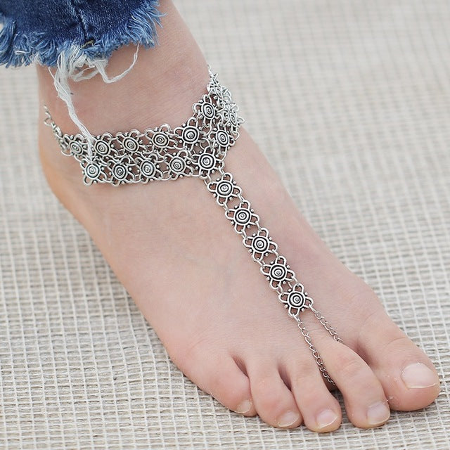 1 PC LINKED SILVER CHAIN ADORABLE Breezy Soles Styles Barefoot Sandal Wear WITH SHOES ~ Flats ~ High Heels ~ Flip Flops ~ Beach Wedding Bride Foot Jewelry