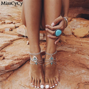 1 PC ANKLET Adorable Breezy Soles Styles Barefoot Sandal Wear WITH SHOES ~ Flats ~ High Heels ~ Flip Flops ~ Beach Wedding Bride Foot Jewelry